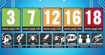 Pelien ikärajamerkintöjä. Iät 3, 7, 12, 16 ja 18, sekä sisältösymbolit väkivalta, seksi, kauhu, päihteet, uhkapelaaminen, kirjoilu, syrjintä ja ilmoitus pelin sisäisistä ostoksista